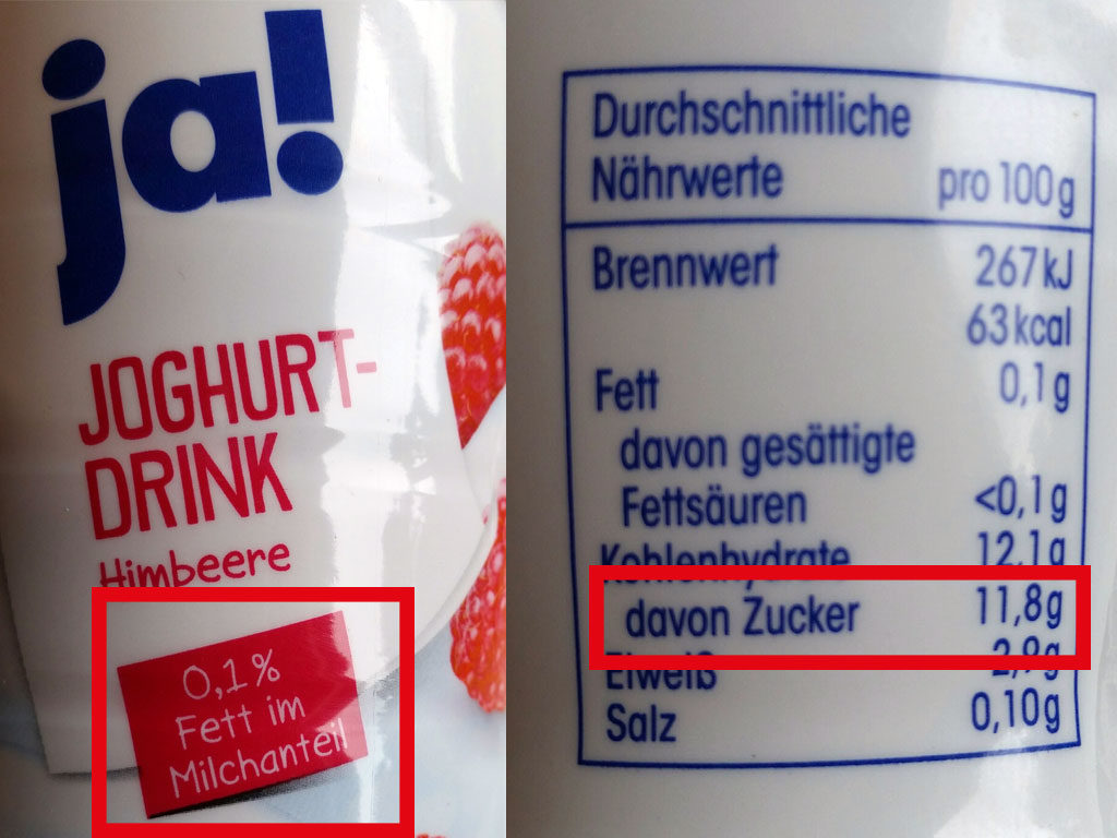 ja! Joghurt-Drink: fett verarscht