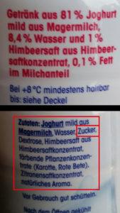 ja! Jogghurtdrink Himbeere: Doppelte Inhaltsangabe