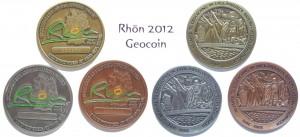 Die drei Varianten der Rhön 2012 Geocoin